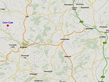 Map to Self-Catering Accommodation near Powys
